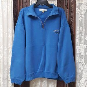 Tommy Bahama Logo Fish Ribbed Knit Sweater Blue 2X